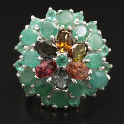 Sterling Emerald and Tourmaline Ring