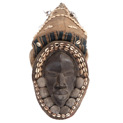 Dan Hand-Carved Wood Mask with Embellishments, West Africa