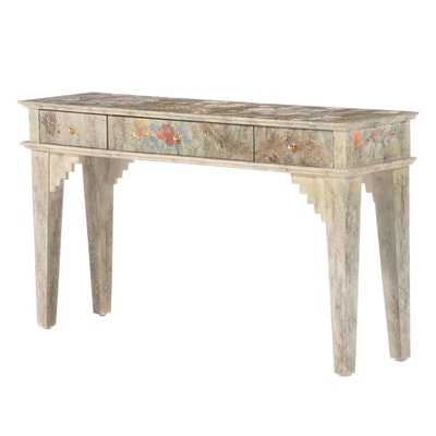 Lacquered, Polychromed, and Parcel-Gilt Console Table, Late 20th Century