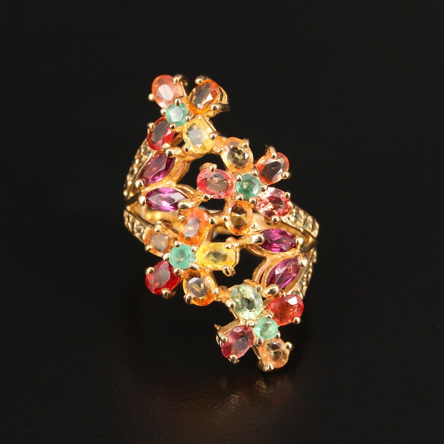 Sterling Silver Emerald, Garnet and Sapphire Floral Ring