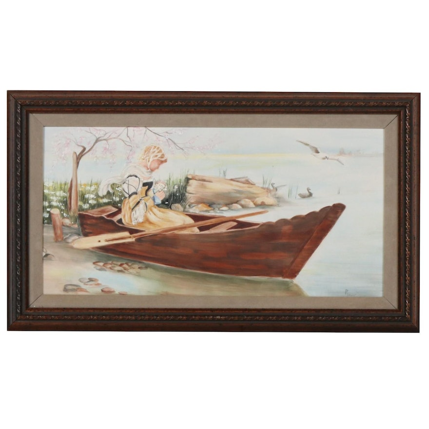 Porcelain Painting of a Girl in a Boat, 20th Century
