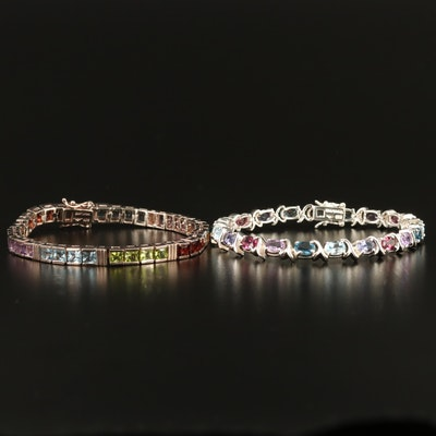 Sterling Silver Gemstone Line Bracelets