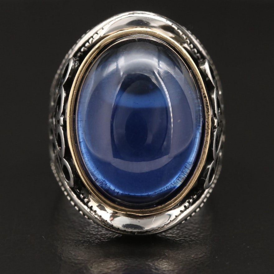 Sterling Silver Blue Glass Cabochon Ring