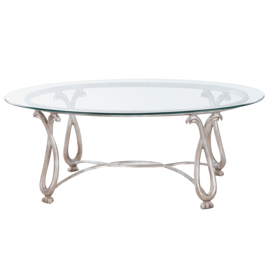 Contemporary Glass Top Scrolled Metal Coffee Table