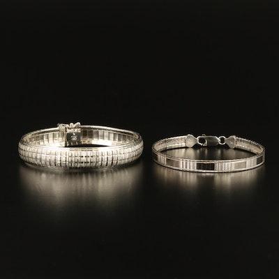 Sterling Silver Textured Omega Bracelets