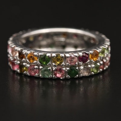 Sterling Tourmaline Eternity Band