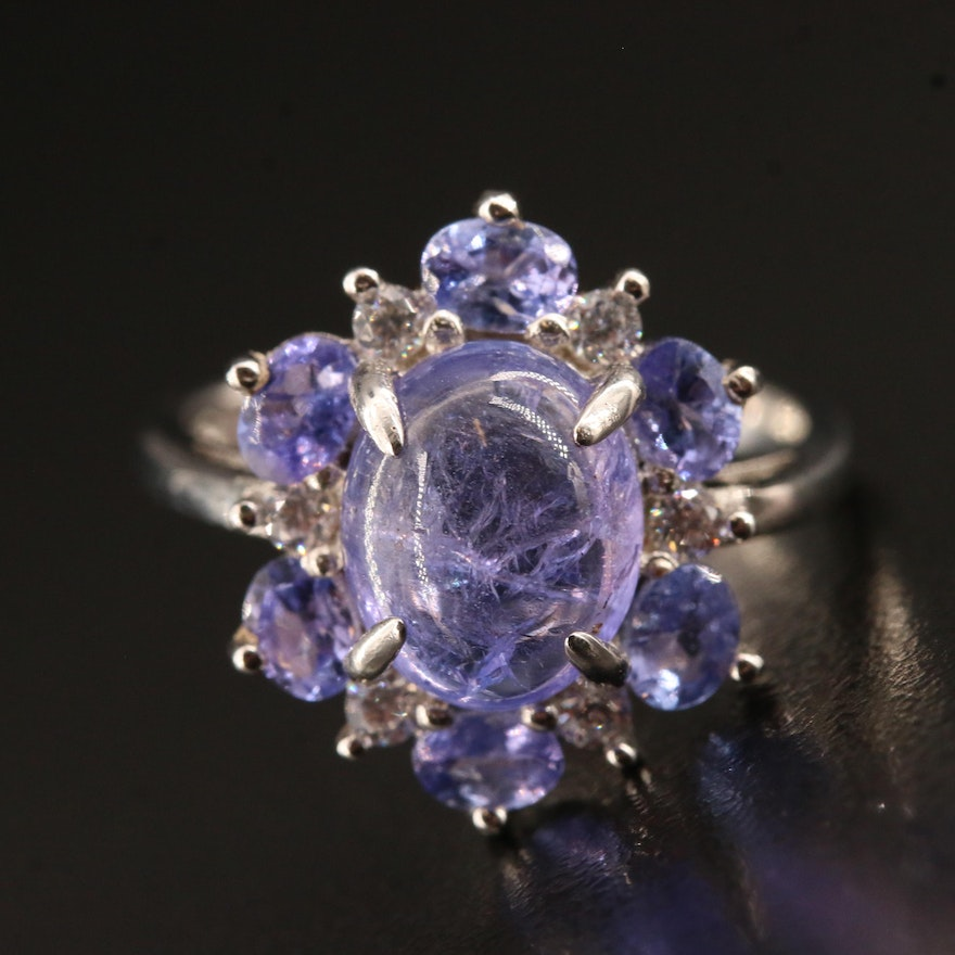 Sterling Silver Tanzanite and Cubic Zirconia Ring