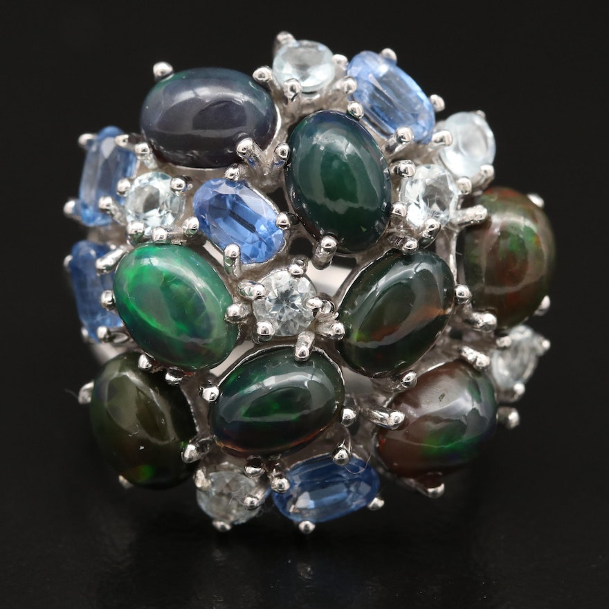 Sterling Silver Opal, Kyanite and Aquamarine Cluster Ring