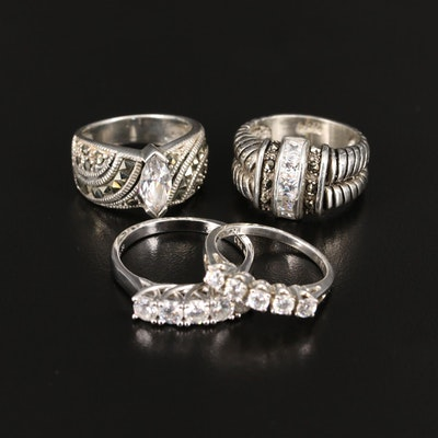 Assortment of Sterling Silver Rings Featuring Cubic Zirconia and Marcasite