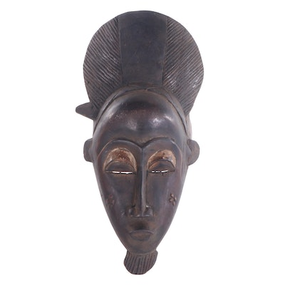 Baule Style Carved Wood Mask, Côte d'Ivoire
