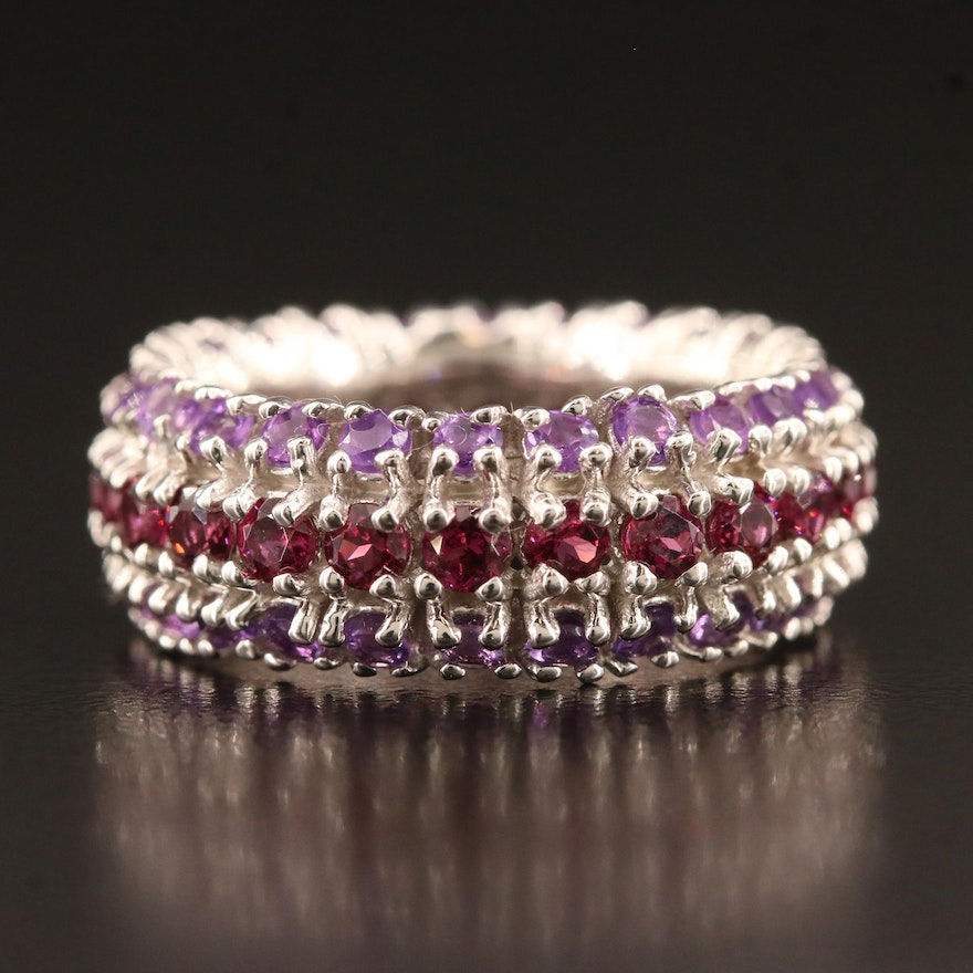 Sterling Silver Garnet and Amethyst Triple Row Band