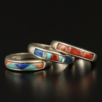 Carlisle Jewelry Western Style Sterling Silver Inlay Bands