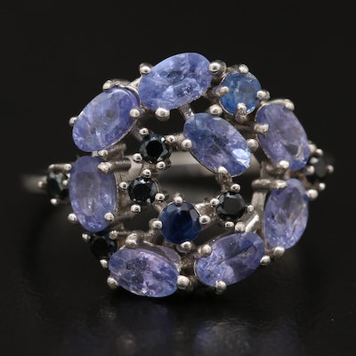 Sterling Tanzanite and Cubic Zirconia Openwork Ring