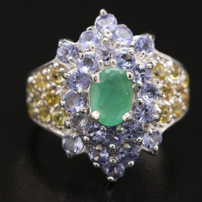 Sterling Emerald, Tanzanite and Sapphire Cluster Ring