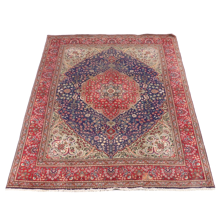 9'10 x 13'1 Hand-Knotted Persian Kashan Wool Rug