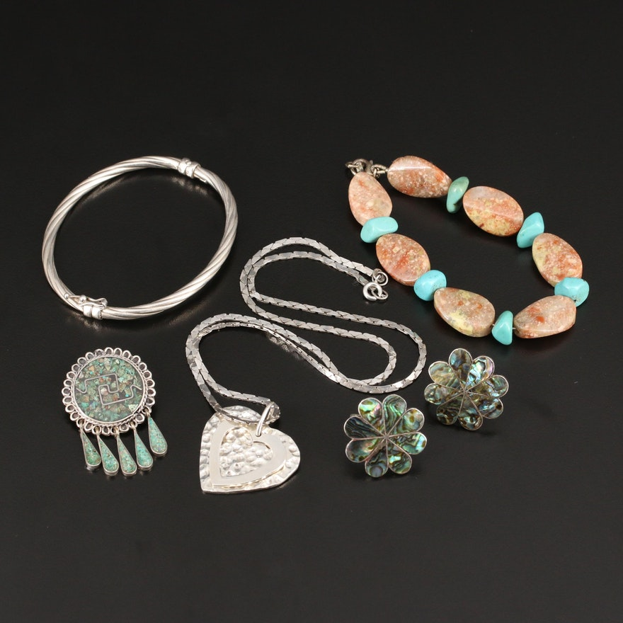 Sterling Silver Abalone, Howlite and Jasper Jewelry with Mexican Pieces