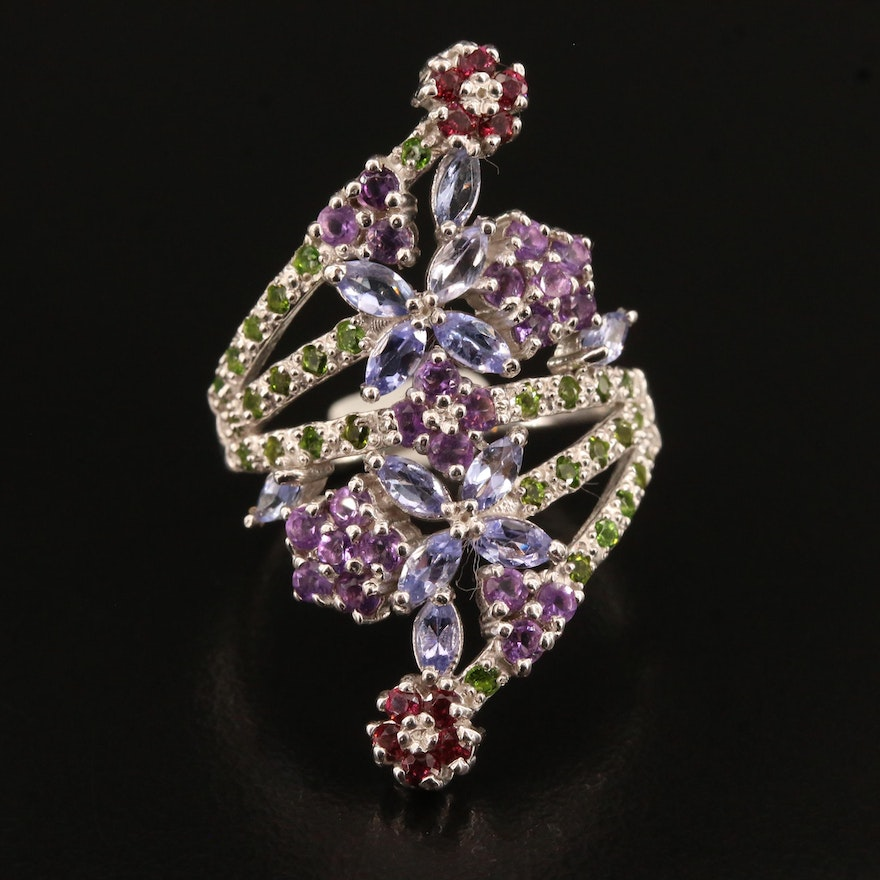 Sterling Silver Amethyst, Tanzanite, Diopside and Garnet Floral Motif Ring