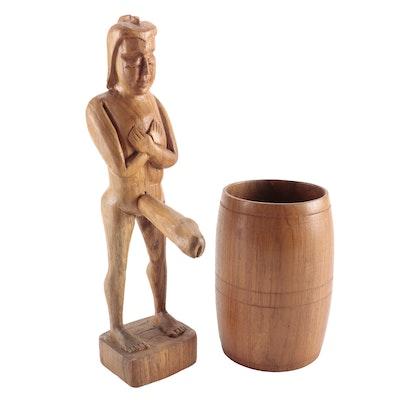 Erotic Wood Carving of Man in a Barrel