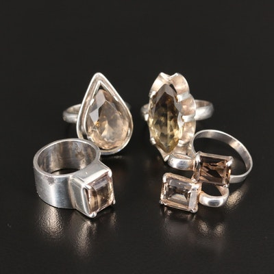 Sterling Silver Smoky Quartz Ring Selection Featuring Taxco Mexico