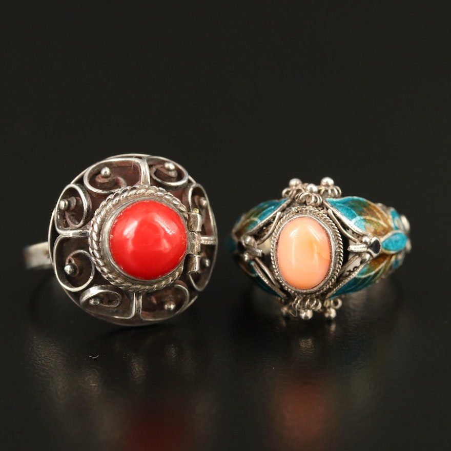 Mexican Sterling Poison Ring and Enamel Butterfly Ring