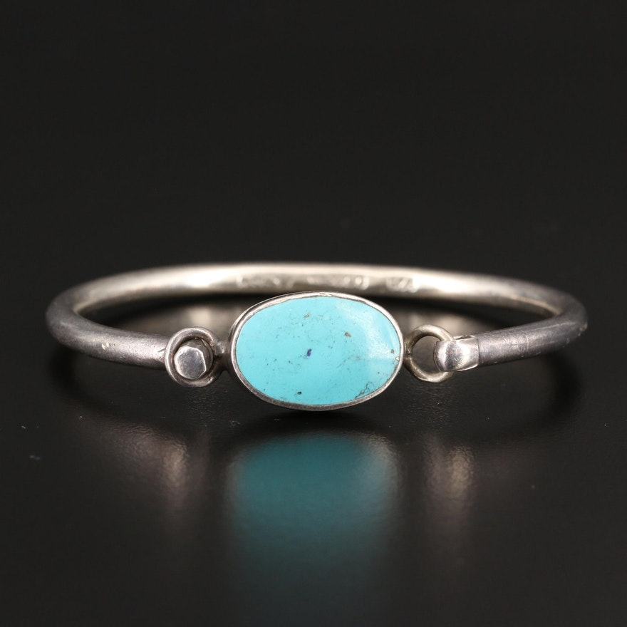 Mexican Sterling Silver Turquoise Oval Bangle