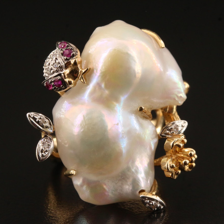 14K Insect Ring Featuring Pearl, Ruby, Diamond and Citrine