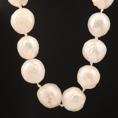 Semi-Baroque Pearl Knotted Necklace with 14K Clasp
