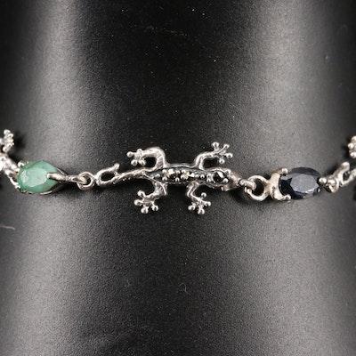 Sterling Silver Gemstone Gecko Motif Bracelet