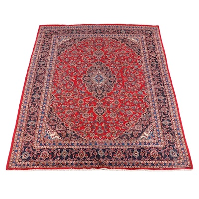 9'7 x 12'11 Hand-Knotted Persian Kashan Wool Rug