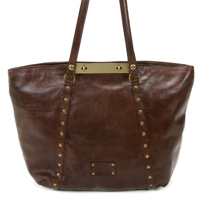 Patricia Nash Studded Tote in Brown Grained Leather