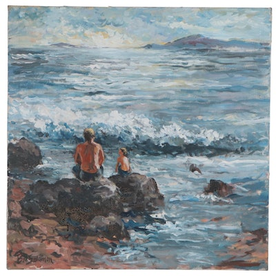Bill Salamon Coastal Landscape with Figures Oil Painting, Late 20th Century