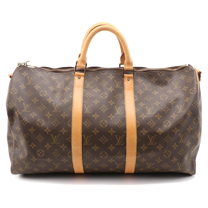 Louis Vuitton Keepall Bandoulière 50 Duffel Bag in Monogram Canvas and Leather