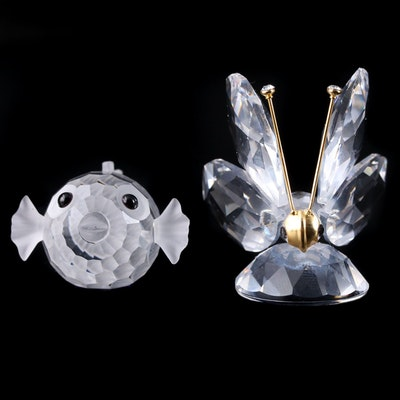 "Swarovski ""Blowfish"" and ""Butterfly"" Crystal Figurines"