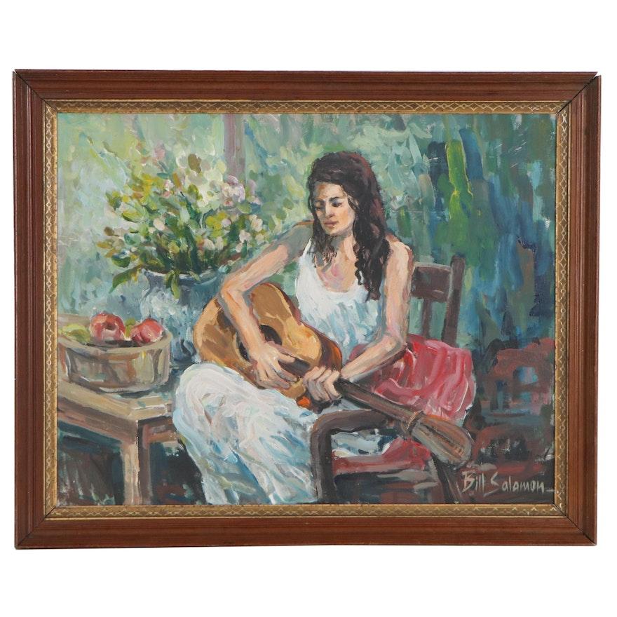 Bill Salamon Oil Painting of Female Guitarist, Late 20th Century