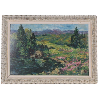 Bill Salamon Spring Landscape Oil Painting, Mid to Late 20th Century