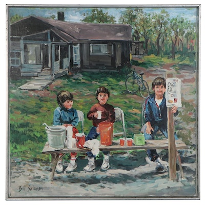 Bill Salamon Oil Painting of Children Selling Drinks, Late 20th Century