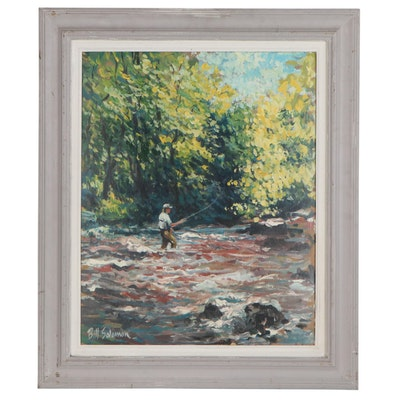 Bill Salamon Oil Painting of Fisherman in River Landscape, Late 20th Century