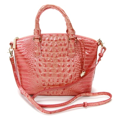 Brahmin Two-Way Melbourne Satchel in Croc-Embossed Metallic Coral Pink Leather