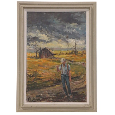 Bill Salamon Oil Painting of Farmer, Late 20th Century