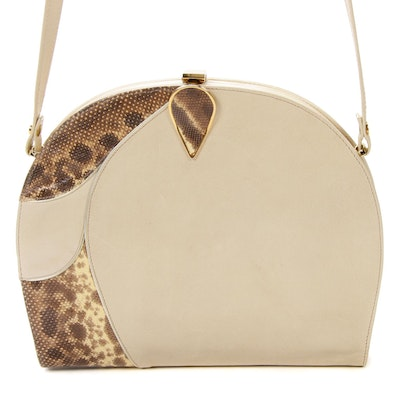 Bally of Switzerland Shoulder Frame Bag in Beige Leather and Python Skin