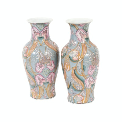 Hand-Painted Chinese Porcelain Vases, 20th Century