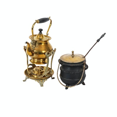 Brass Teapot with Warmer and Cast Iron Fire Starter Kettle, Early 20th Century