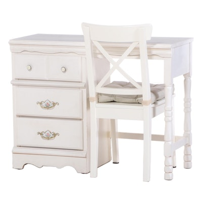 "Sears ""Homestead"" White-Painted Pedestal Desk Plus Ikea ""Ingolf"" Side Chair"