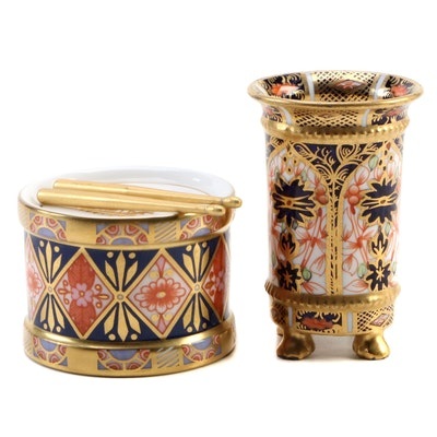 "Royal Crown Derby ""Old Imari"" Bone China Drum Paperweight and Toothpick Holder"
