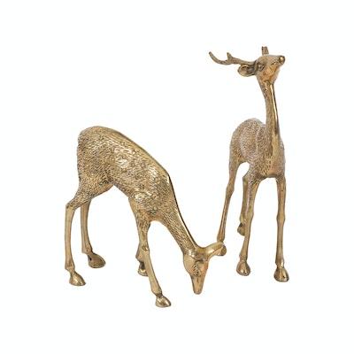 Brass Buck and Doe Figurines, Late 20th Century