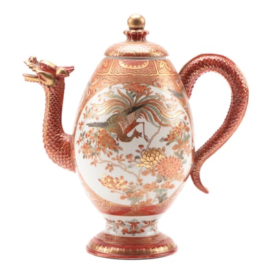 Japanese Satsuma Dragon Tea Pot, Antique