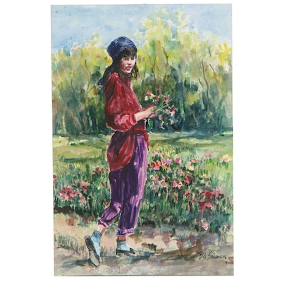 Bill Salamon Watercolor Painting of Girl with Wildflowers, Late 20th Century
