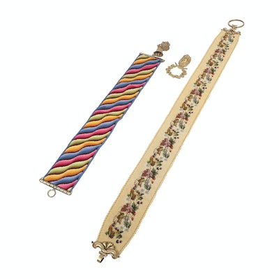 Bargello and Petite Point Needlepointed Bell Pulls with Cast Brass Hardware