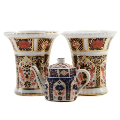 "Royal Crown Derby ""Old Imari"" Bone China Vases and Miniature Teapot"