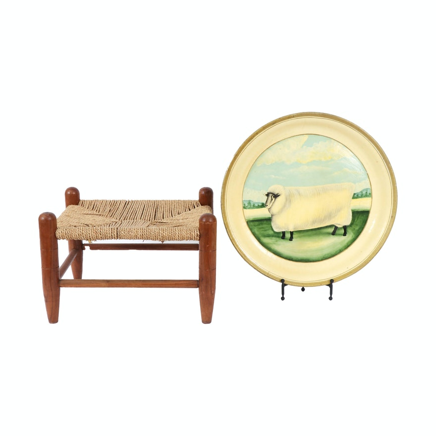 Hand-Painted Tole Tray with Sheep and Primitive Style Fiber Cord Footstool